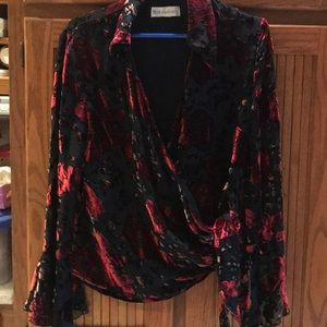 Velvet burn out wrap blouse